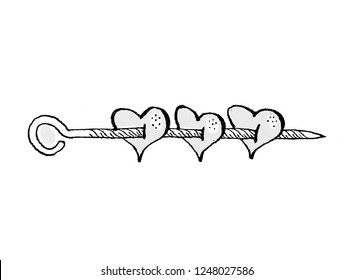 Hearts strung on a skewer. Satirical drawing.