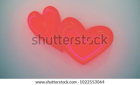 Hearts Symbols Different Shapes Colors 3 D Stock Illustration