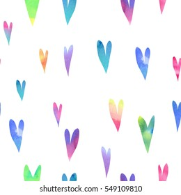 Hearts. Watercolor seamless pattern, hearts different sizes and colors, watercolor gradient, white background.