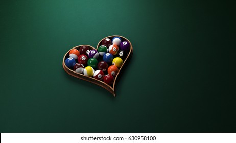 Heart-shaped billiard balls on the green background. Love concept with billiards. Rack in a heart shape. Valentines background. 3D Rendering Illustration.