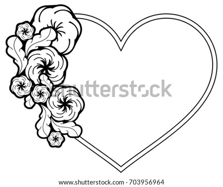 Heartshaped Black White Frame Floral Silhouettes Stock Illustration