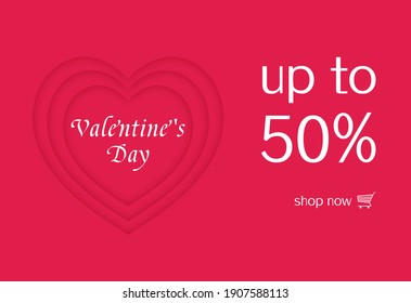 A heart-shaped pattern says Valentine's Day and 50% off