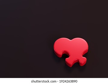 Heart-shaped puzzle piece on the black background. 3d render