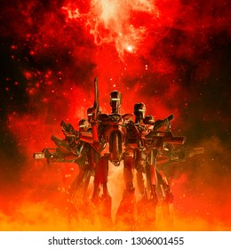 In the heat of battle / 3D illustration of science fiction scene with military robot troopers in the fiery glow of space war