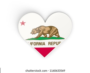 Heat with flag of california. United states local flags. 3D illustration