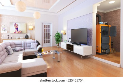 Heating concept. Solid fuel boiler in the interior. Living room. 3d illustration
