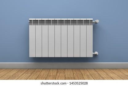 Heating radiator on wall. 3d rendering