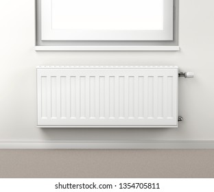 Heating radiator in the room mounted under the window, 3D illustration