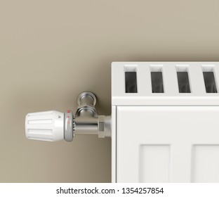 Heating radiator with thermostat valve attached on brown wall, 3D illustration