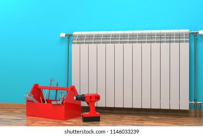 Heating system in room. 3D rendering.