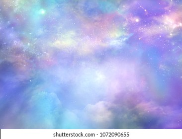 Heaven is Beautiful  - Purple pink and blue deep space background with many stars, planets and cloud formations