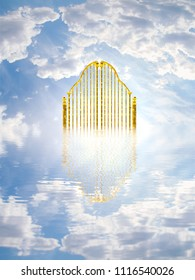 Heaven gate made of gold on a bright and cloudy background / 3D illustration