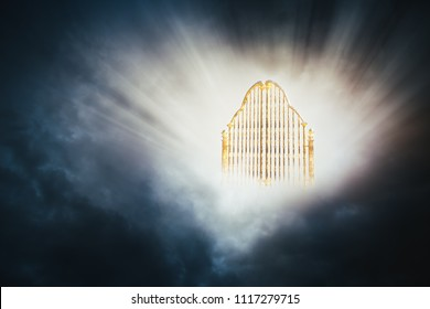 Heaven gate made of gold on a dark cloudy background / 3D illustration