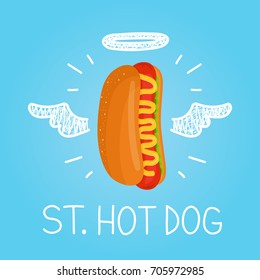 "Heaven hot dog concept ""St. hot dog"" with angel halo and wings. Flat and doodle isolated meal, delivery, cafe, fun illustration icon. Love hot dog for fast food cafe concept"