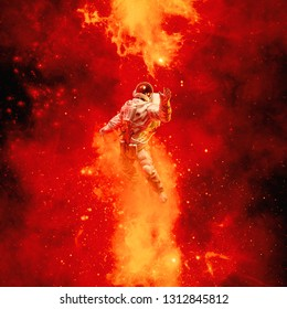 Heaven in my reach / 3D illustration of science fiction scene with astronaut floating in space amid glowing fiery galaxies