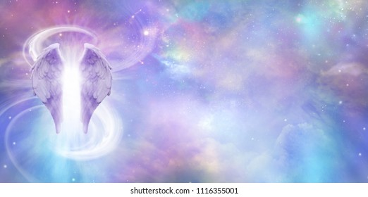 Heavenly Angel Spirit Banner - a pair of Angel Wings with a swish of white energy behind set against a wide vivid cosmic Universe background with copy space