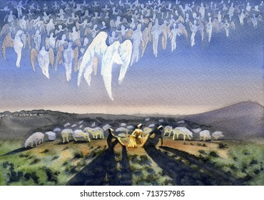 Heavenly host. The appearance of the angel to the shepherds.