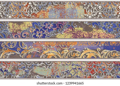 Heavily Mixed Wall Tile Design For Home Decoration, Colorful Wall Tile Design,  wallpaper, linoleum, textile, web page background, Texture, textile material, illustration.