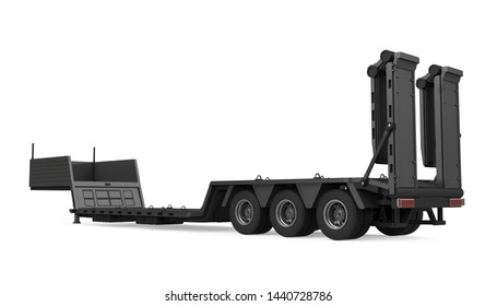 Heavy Equipment Flatbed Trailer Isolated. 3D rendering