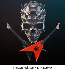 Heavy Metal - Demon skull, black and red crossed guitars - 3D Illustration
