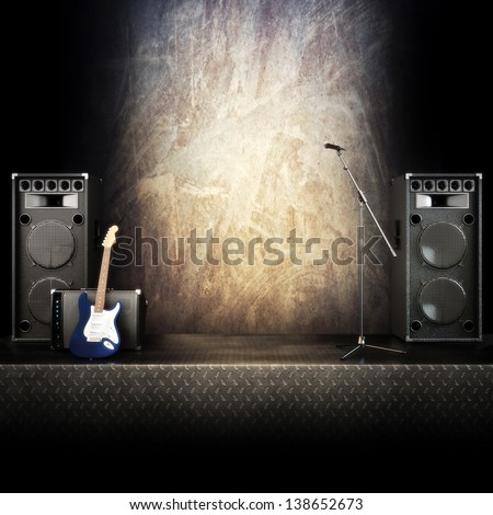 Heavy Metal Music Stage Singing Background Stock Illustration