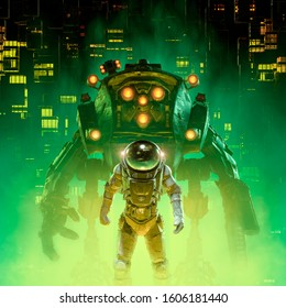 Heavy metal patrol / 3D illustration of retro pulp science fiction scene showing astronaut and giant mech robot in futuristic city