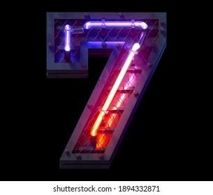 Heavy metal ultra neon font. Number 7. 3d rendering