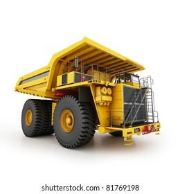 Heavy mining dumper isolated on white