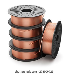 Heavy non-ferrous metallurgical industry and industrial manufacturing business production concept: heap of coils with shiny metal copper electrical power wire cables isolated on white background
