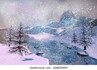Heavy snow, 3D rendering, a winter landscape, coniferous trees, fog and cloudy sky.