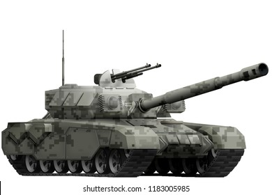 heavy tank with city pixel camouflage isolated object on white background. 3d illustration