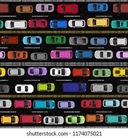 Heavy Traffic Seamless Pattern Illustration