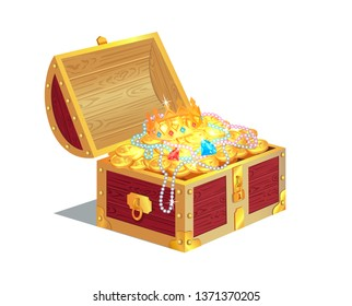 Heavy wooden chest full of ancient gold treasures. bright gems precious jewelry and shiny coins. old royal treasure in container raster illustration.