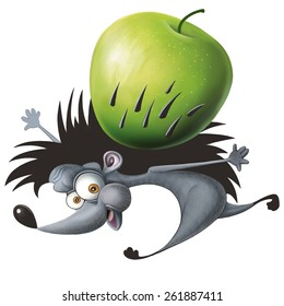 Hedgehog, apple, cartoon character