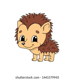 Hedgehog. Cute flat  illustration in childish cartoon style. Funny character.  on white background