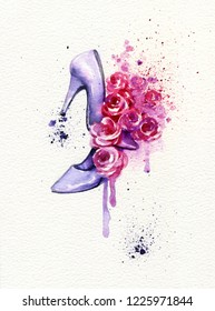 heels and roses. fashion illustration. watercolor painting