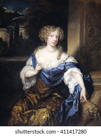 Helena Catharina de Witte, the Wife of Iman Mogge, by Caspar Netscher, 1678, Dutch oil painting. She point to a fountain in the shape of a lion and places her right hand on a rope of pearls around he