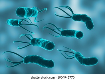 Helicobacter Pylori in the microscopic environment. is a bacterium that colonizes the lining of the human stomach. 3D rendering