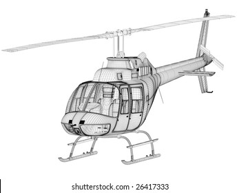 helicopter 3d model on white (high resolution image)