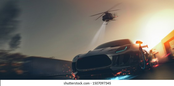 Helicopter car chase - front view, conceptual (with grunge overlay) - 3d illustration