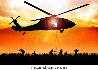 helicopter is dropping the troops