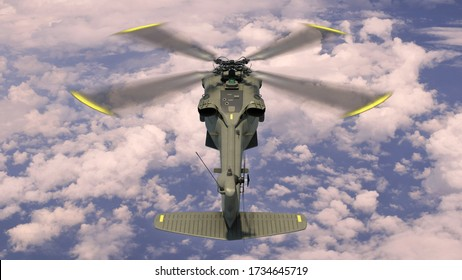 Helicopter in flight, military aircraft, army chopper flying in sky with clouds, rear top view, 3D rendering