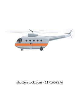 Helicopter Isolated on White Background, Side View, Illustration