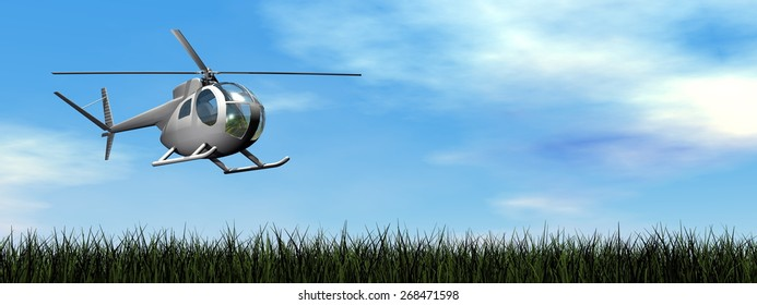 Helicopter landing on the grassby day - 3D render