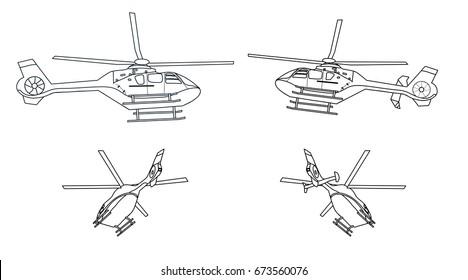 Helikopter-Umriss schwarz-weiß zum Färben