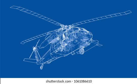 Helicopter sketch or blueprint. Military equipment. 3d illustration