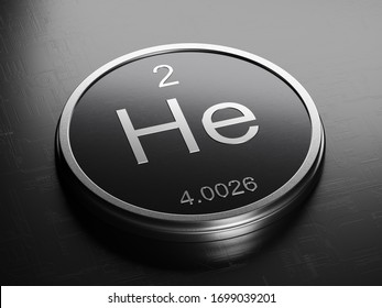 Helium element from periodic table on futuristic round shiny metallic icon 3D render