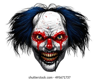 Hell evil rotten teeth smiling clown makeup with long painted hair
