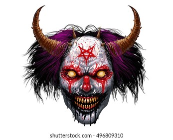 Hell evil rotten teeth smiling clown makeup with long painted hair and devil's pentagram. Horror halloween character