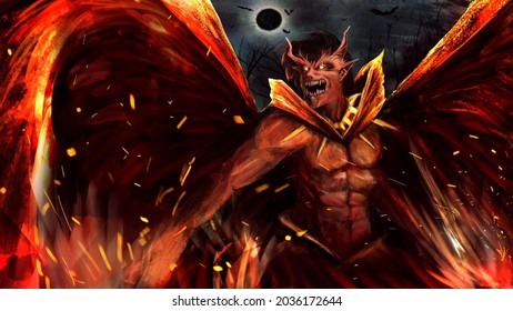 A hellish demon with horns and glowing eyes.he has red burning wings behind his back.he is wearing a bright cape and a collar.sparks fly from the earth and energy and the moon come out.2d art